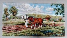 """Antique hooked rug farm horses plowing, signed M. BURKE  (21.5"""" x 57"""")"""