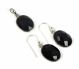 925 SOLID STERLING SILVER FACETED BLACK ONYX PENDANT EARRING SET O N681
