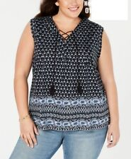 Style & Co Plus Size Printed Lace-Up Sleeveless Top Navy Blue