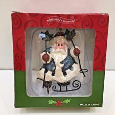 "Whimsical Santa Skiing Christmas Tree Ornament, Costco 3.75"" Tall, New in Box"