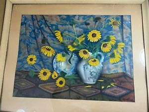 "Glenn Stuart Pearce (1909 -1986) ""Sunflowers Scene"" Pastel Painting - Signed"