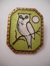 Vtg Antique Guilloche Enamel Figural OWL Moon Brooch Old Clasp Green White Bird