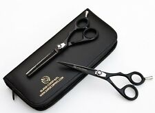 "6"" Professional Barber Hairdressing Scissor Thinning & Hair Cutting Set Black"