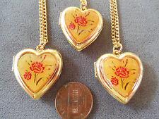Vintage lot new old stock 3 md heart flower antiqued-look locket necklaces Lt6