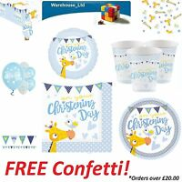 BOYS BLUE CHRISTENING PARTY TABLEWARE DECORATION  PLATES CUPS BANNER BUNTING