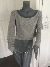 Ladies Size small cropped Grey Mesh Cotton blend Jumper