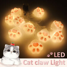 10 LED Warm White Cat Claw String Light Battery Powered Pink Romantic Night Lamp