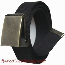 "NEW 1.5"" WIDE BRASS FLIP TOP BUCKLE ADJUSTABLE BLACK CANVAS MILITARY WEB BELT"