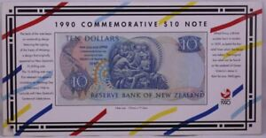 New Zealand 1990 10 Dollars in Folder Pick#176 Uncirculated BBB Prefix