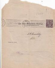 Stamp 1&1/2d black brown KGV single watermark OS 1919 OHMS titles office memo