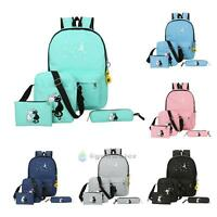 4Pcs SET Women Backpack Cat Girl School Shoulder Bag Rucksack Canvas Travel Bags