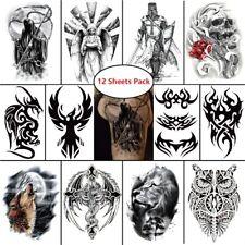 12 pcs Temporary Tattoo Masculine Stickers Waterproof Body Art Devil Lion Dragon