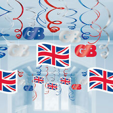 30 x Great Britain Hanging Swirl Decorations Union Jack GB Party Decorations