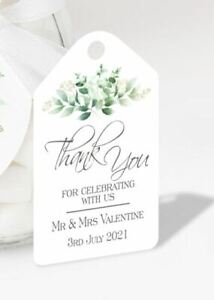 Pack of 10 x Personalised Wedding Favour Tags Thank You for Sharing our Special
