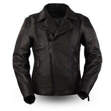 First Manufacturing Men Motorcycle Night Rider Platinum Cowhide Leather Jacket