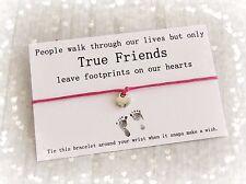 Verdaderos amigos huellas del encanto del corazón deseo Amistad Pulsera & sobre color de rosa caliente