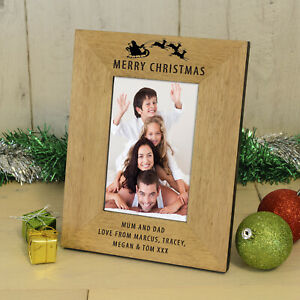 Personalised Engraved Merry Christmas Wood Frame 6x4 Gift