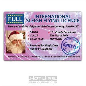 Xmas Novelty ID Card - Santa Claus Sleigh Driving Licence (Plastic PVC)