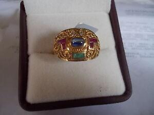 18k Gold Ring 1.49 cwt Cats Eye Sapphire w/ Gemstones Diamonds Size 7.5 IGI CERT