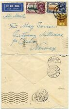 SINGAPORE to NORWAY 1935 KG5 SILVER JUBILEE STRAITS SETTLEMENTS FRANKING AIRMAIL