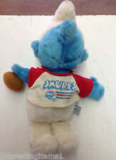 Vintage Peyo 1981 Stuffed Smurf Doll 1981 Football Player W/ Shirt & Ball!