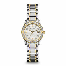 Bulova Womens 98R107 Silver/Gold Watch w/ Mother of Pearl Dial & Diamond Markers