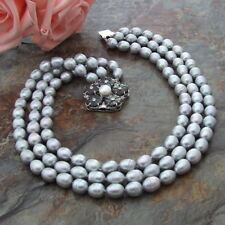 18''-21'' 3 Strands Grey Rice Pearl Necklace