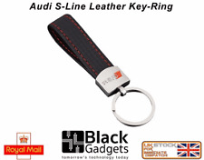 Audi S line car key ring black leather A3 A4 A5 A6 Q7 quality stitched leather