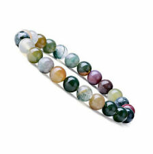 Natural 8mm Indian Agate Healing Crystal Stretch Beaded Bracelet Unisex