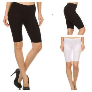 US Women Stretch Biker Bike Shorts Workout Spandex Legging Knee Length(S-3xl)