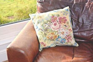 Vintage needlepoint tapestry cushion Rose & Ribbon floral design velvet backing