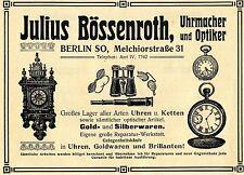 Uhrmacher & Optiker Julius Bösenroth Berlin  Historische Reklame von 1910