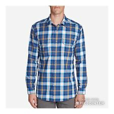 Eddie Bauer Expedition Flannel dusty blue plaid  shirt Sz S NWT$80.00