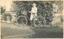 YOUNG GIRL WITH HER BICYCLE OLD REAL PHOTO POSTCARD