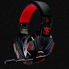 3.5mm Over-Bass Gaming Headphone Headset Earphone W/ Mic For PC Laptop Gamer Red