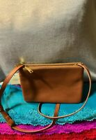 Fossil Sadie Brown Pebble Grain Leather Double Zip Snap Shoulder Bag Crossbody