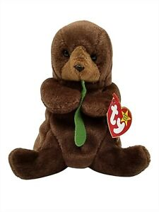 Ty Beanie Baby Seaweed The Otter Brown Collectible Retired Plush Vintage New