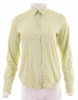 GANT Womens Shirt UK 14 Medium Green Check Cotton  HR12