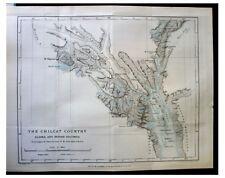 1891 Seton-Karr - UNCHARTED ALASKA - NW British Columbia - COLOR MAP - Chilcat 2