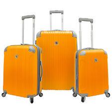 Beverly Hill Country Club 3pc Malibu Newport Orange Spinner Luggage Suitcase Set