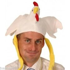 WHITE ANIMAL CHICKEN HAT WITH LONG LEGS FUNNY NOVELTY CHRISTMAS XMAS FANCY DRESS