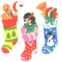 Sandylion Vintage Fuzzy 80's CHRISTMAS STOCKINGS Stickers 1 Square RETIRED