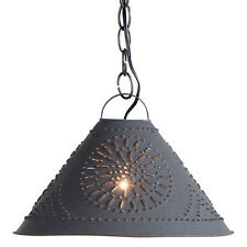 Antique Style Punched Tin Hitchcock Shade Light Colonial Revival Pendant Lamp