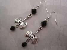 Cross* Earrings Sp *Black Beaded Gothic Axe
