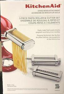 Silver KitchenAid Stand Mixer Attachment 3-Pc. Pasta, Spaghetti Cutter Brand New