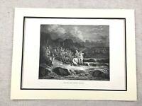 1870 Antique Engraving Print Jewish Art Judas Maccabeus Biblical War Timotheus
