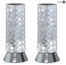 2x MIRRORED SILVER AND WHITE CYLINDER TABLE LAMPS, SILVER BEDSIDE TABLE LAMP