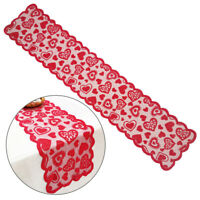 Christmas Red Lace Table Runner Tablecloth Love Heart Table Cover Party Decor UK
