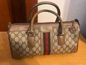 Vintage 1970's  Boston Gucci bag PVS brown Leather