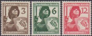 SET Germany 1937 Anniversary Civil Defence Union 3pf-12pf MH Stamps SG632/634